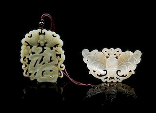 * Two Pierce Carved Jade Pendants Height of taller 2 1/2 inches.