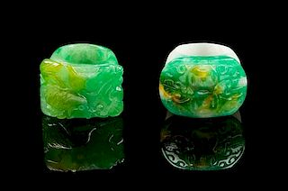 * Two Jadeite Archer's Rings Length of first 1 1/8 inches.