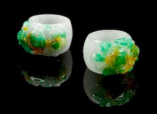 * Two Jadeite Archer's Rings Length of larger 1 3/8 inches.