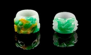 * Two Jadeite Archer's Rings Length of first 1 1/4 inches.