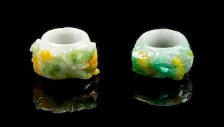 * Two Jadeite Archer's Rings Length overall of first 1 3/8 inches.