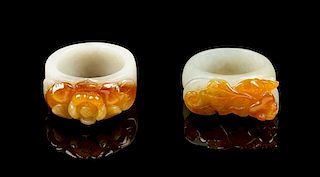* Two Jadeite Rings Length overall of larger 1 1/4 inches.