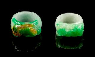 Two Jadeite Archer's Rings Diameter of interior of each 7/8 inch.