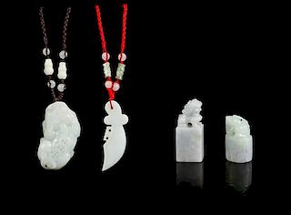 * Two Jadeite Pendants Height of tallest 1 3/4 inches.
