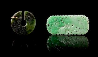 Two Hardstone Pendants Height of larger 2 1/2 inches.