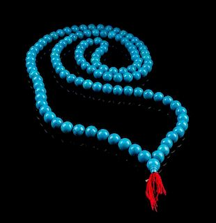 A Turquoise Prayer Beads Necklace Length overall 40 inches.