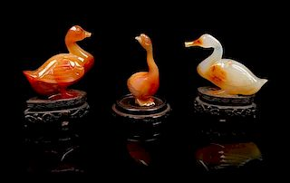 * A Group of Three Agate Figures of Ducks Length of largest 3 inches.