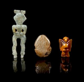 * A Group of Three Agate Carvings Height of tallest 4 3/4 inches.
