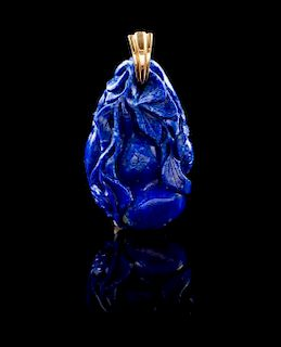 A 14 Karat Gold Mounted Lapis Lazuli Pendant Height 2 inches. Weight 16.90 dwts.