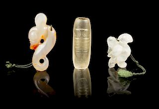 * A Group of Three Crystal Carvings Height of tallest 3 1/2 inches.