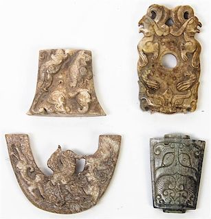 * A Group of Four Carved Stone Articles Length of first 2 1/2 inches.