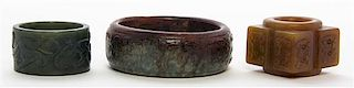 * A Group of Three Carved Hardstone Articles Diameter of largest 3 1/4 inches.
