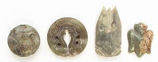 * A Group of Four Carved Hardstone Articles Length of first 2 7/8 inches.
