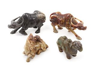 * A Group of Four Hardstone Figures of Animals Height of largest 4 1/2 x length 8 1/2 inches.