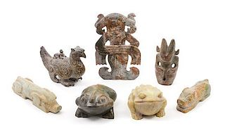 * A Group of Seven Archaistic Carved Hardstone Articles Length of largest 10 3/4 x width 7 inches.