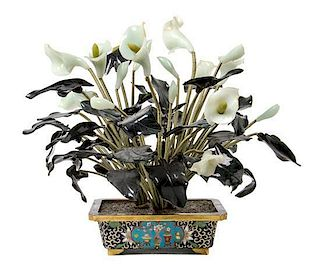 A Hardstone Model of Calla Lilies Height 18 1/4 inches.
