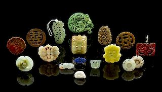 Seventeen Hardstone Articles Length of largest 3 1/8 inches.