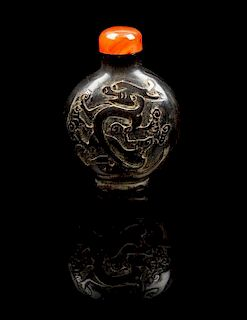 * A Horn Snuff Bottle Height 2 5/8 inches.