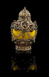 * A Tibetan Silver Mounted Snuff Bottle Height 2 7/8 inches.