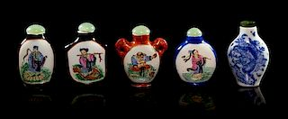 Five Porcelain Snuff Bottles Height of tallest 2 1/8 inches.