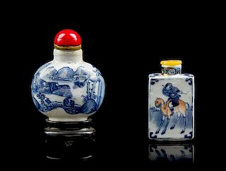 * Two Blue and White Porcelain Snuff Bottles Height of first overall 3 7/8 inches.
