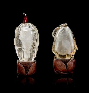 * Two Rock Crystal Snuff Bottles Height of taller overall 4 inches.