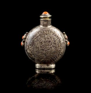 A Mongolian Stone Inset Metal Snuff Bottle Height 2 1/4 inches.