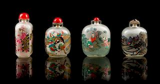 Four Inside Painted Glass Snuff Bottles Height of tallest 4 1/2 inches.