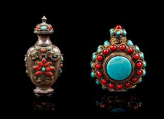 * Two Tibetan Coral and Turquoise Inset Snuff Bottles Height of taller 3 1/2 inches.