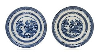 * Two Chinese Export Blue and White Porcelain Chargers Diameter 9 1/2 inches.