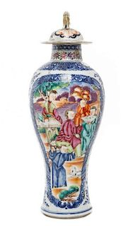 A Chinese Export Baluster Vase and Lid Height 12 1/2 inches.