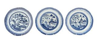 * A Set of Three Chinese Export Porcelain Plates Diameter 8 1/2 inches.