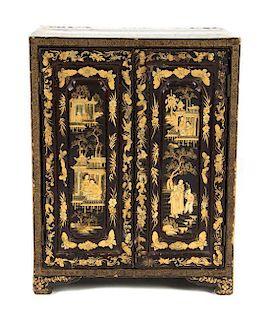 * A Chinese Export Lacquered Jewelry Chest Height 14 1/4 x width 11 1/8 x depth 7 5/8 inches.