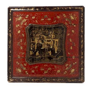 * A Chinese Export Lacquered Panel Height 22 1/2 x width 22 1/2 inches.