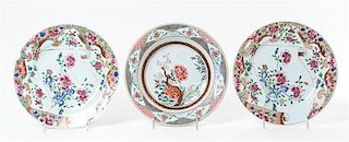 Two Chinese Export Famille Rose Porcelain Plates Diameter of larger 9 1/4 inches.