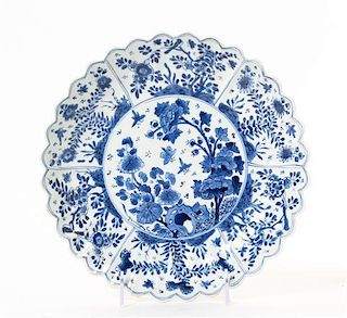 A Chinese Export Blue and White Porcelain Plate Diameter 9 1/2 inches.