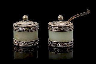 * A Pair of Silver and Jade Inset Salt and Pepper Height 1 1/4 inches.