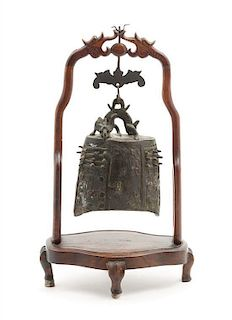 An Archaistic Bronze Bell Height of stand 15 3/4 inches.