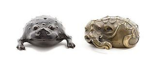 * Two Bronze Articles Width of larger 3 inches.