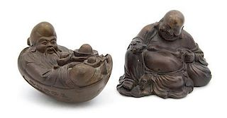 A Bronze Figure of Seated Buddha Height of taller 4 inches.