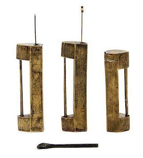 Three Chinese Brass Locks Length of longest 8 inches.