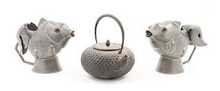 * Two Pewter Fish Censers Height of largest 3 1/4 x diameter 6 inches.