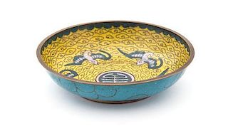 A Cloisonne Enameled Shallow Bowl Diameter 4 1/2 inches.