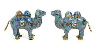 A Pair of Cloisonne Enamel Camel-Form Vessels Width 7 1/2 inches.