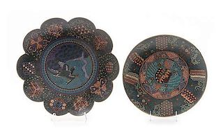 Two Cloisonne Enamel Chargers Diameter of larger 14 1/2 inches.