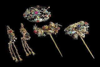 * Five Gilt Metal and Cloisonne Hair Ornaments Height of tallest 5 inches.