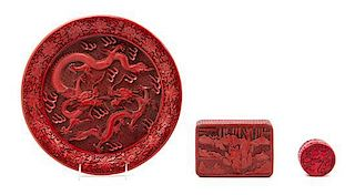 * A Cinnabar Lacquer Charger Diameter 12 7/8 inches.