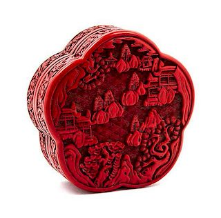 A Cinnabar Lacquer Box and Cover Width 6 inches.