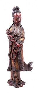 A Lacquered Figure of a Female Immortal Height 32 1/2 inches.