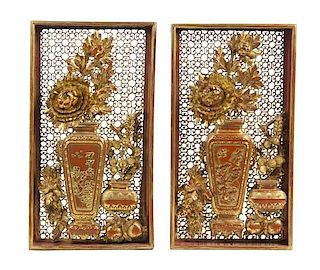* A Pair of Gilt and Lacquered Pierced Wood Panels, Height 19 3/4 inches.